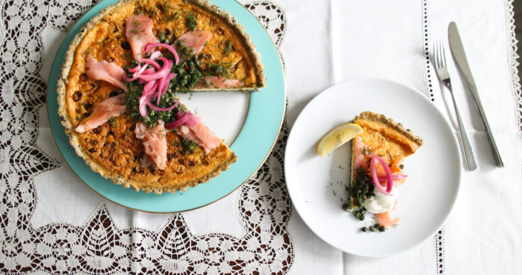 Spring onion quiche with smoked salmon