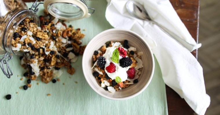 Blueberry and coconut granola