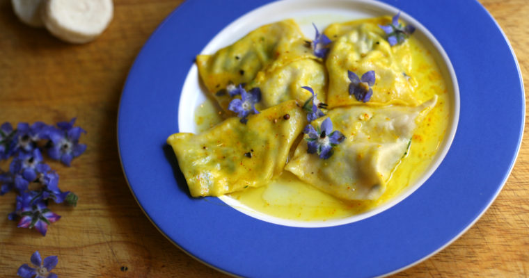 Ravioli with gbejniet in saffron butter