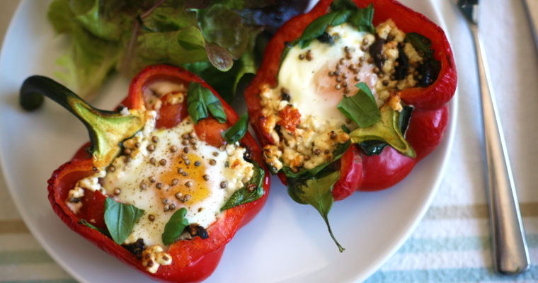 Baked eggs in roasted peppers