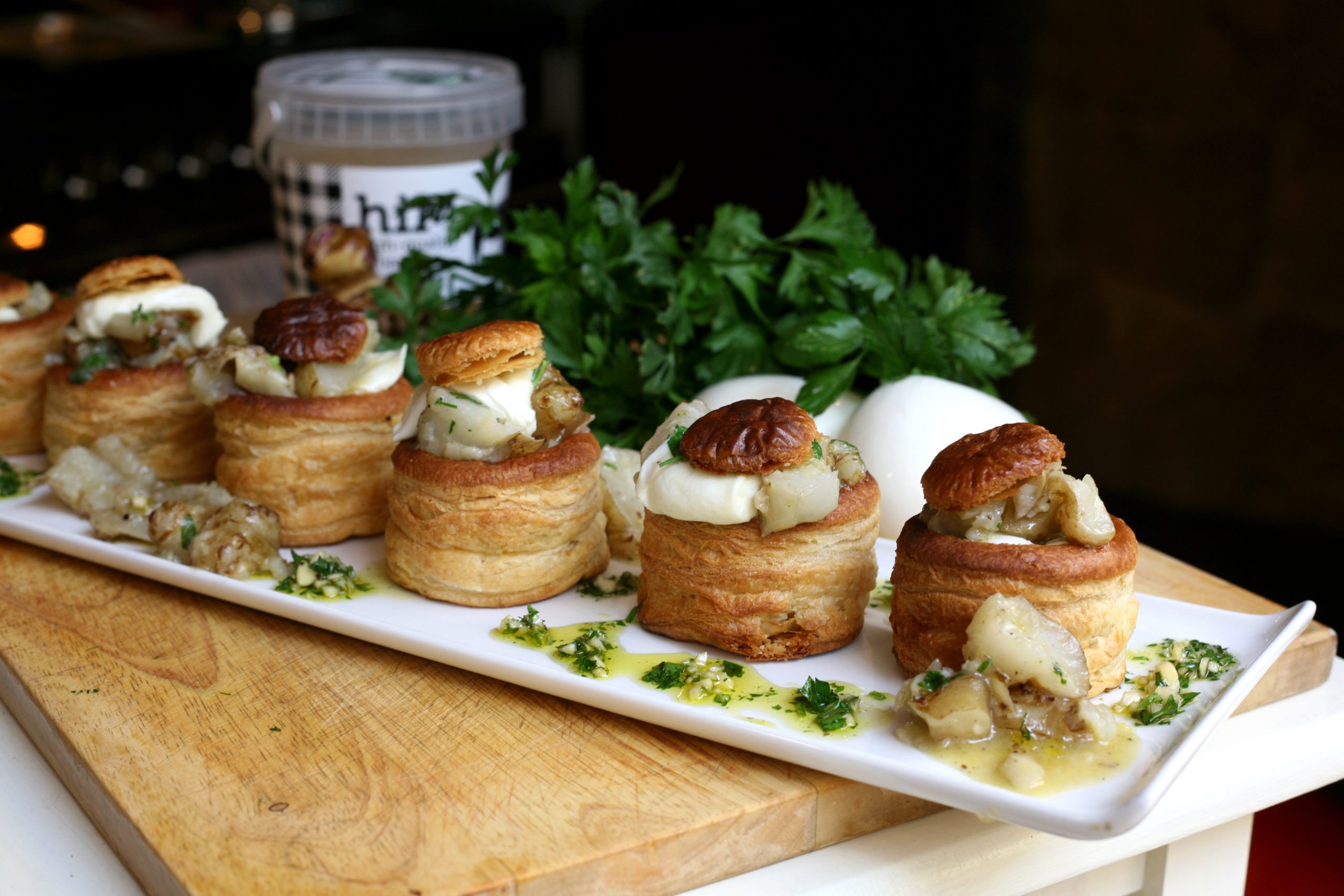 Jerusalem artichoke and mozzarella vol-au-vents