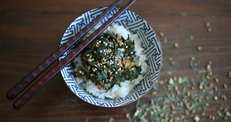 Japanese tea leaf salad on sticky rice