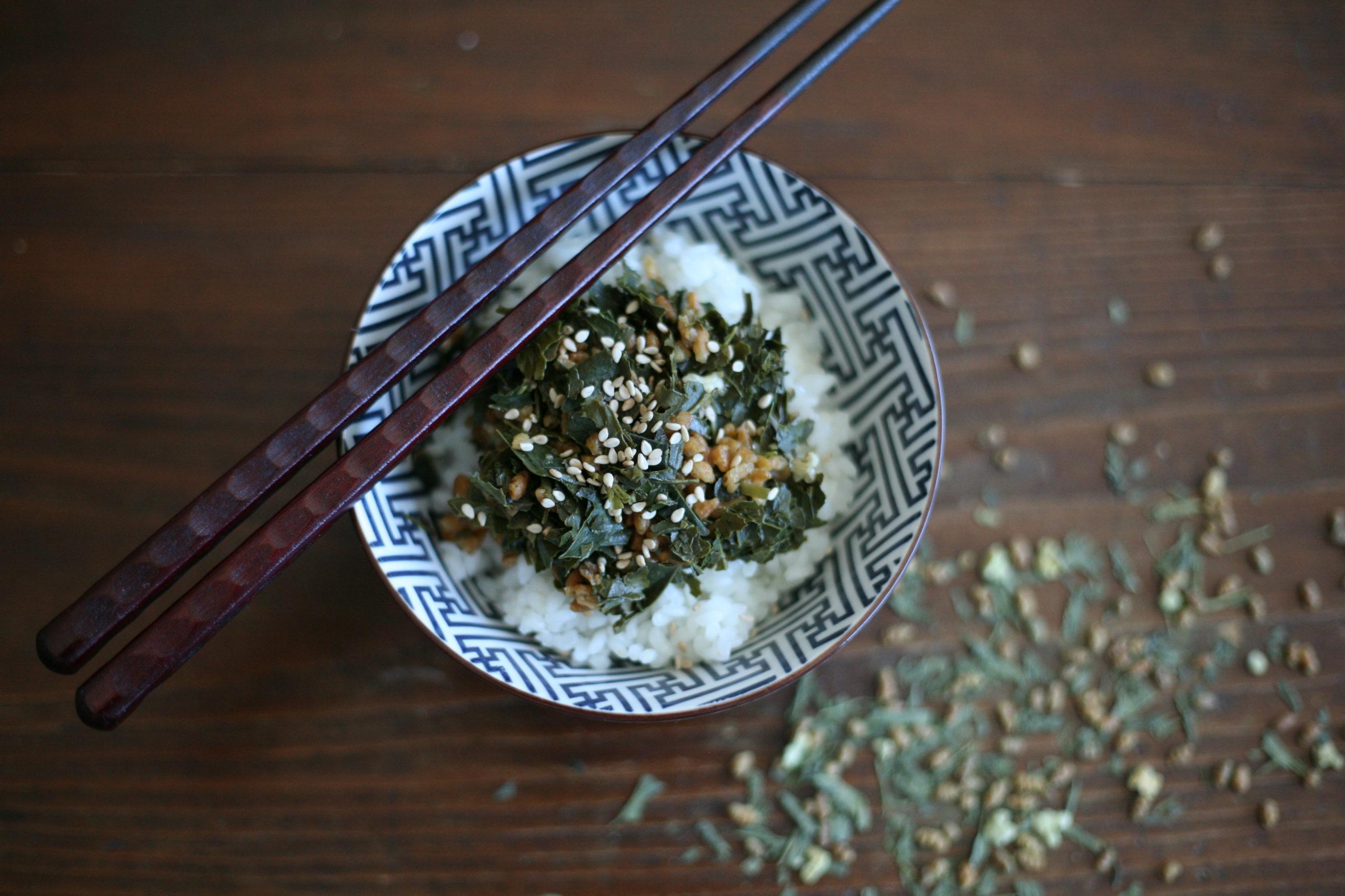 Japanese tea leaf salad on sticky rice