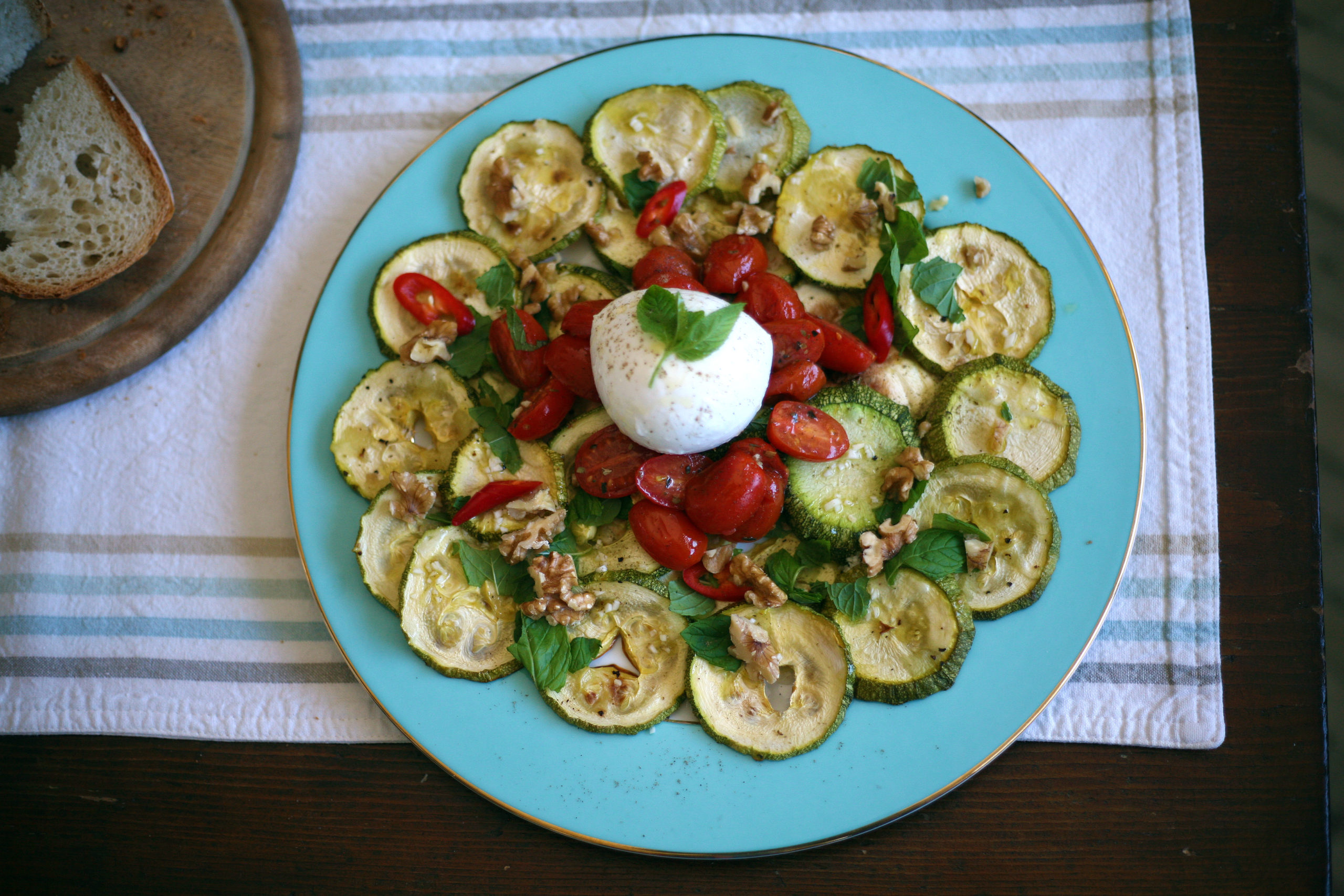 Roasted marrows and tomatoes with mozzarella di bufola