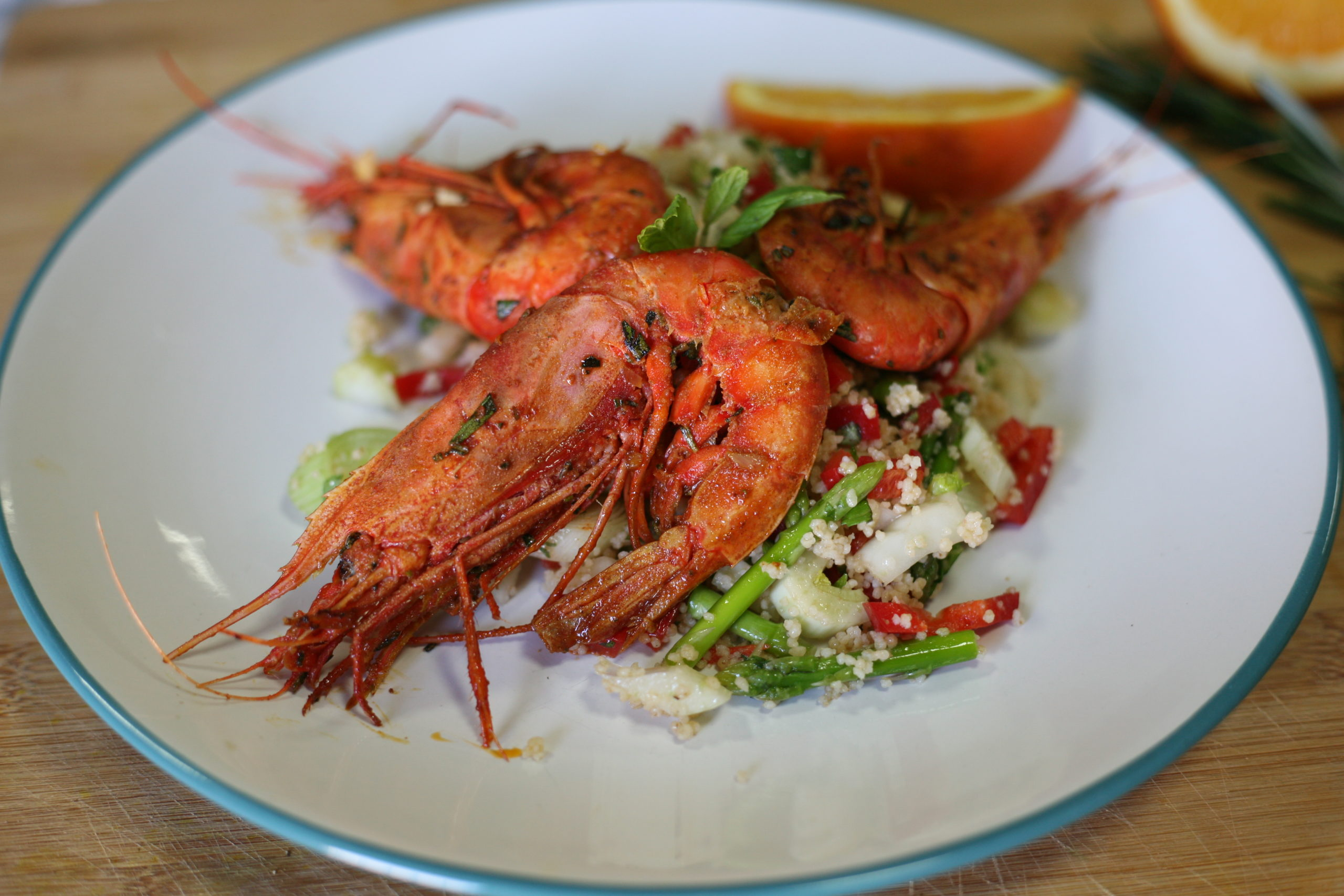 Rosemary and orange prawns
