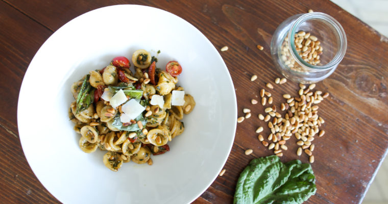 Orecchiette with pesto and sundried tomatoes