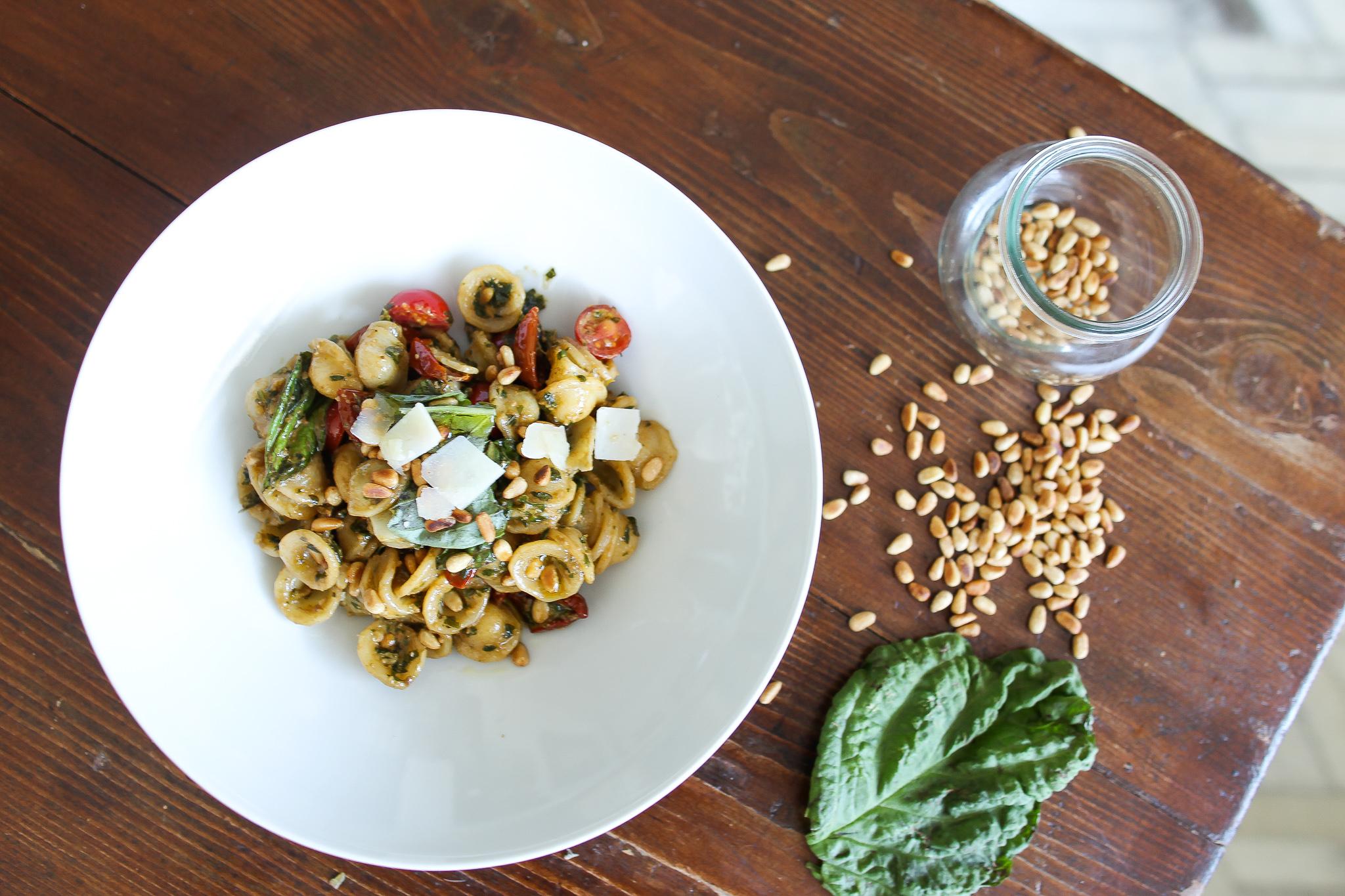Orecchiette with pesto and sundried tomatoes