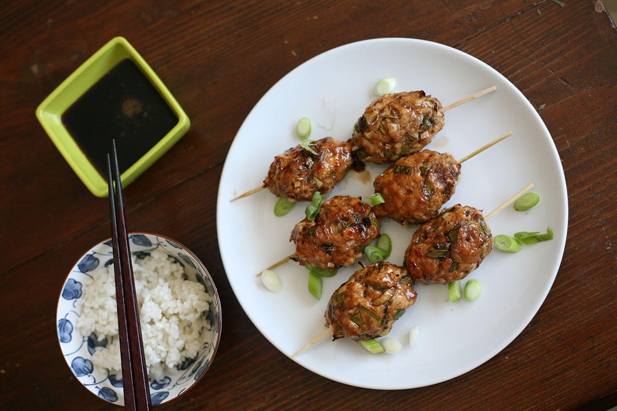 Ginger chicken meatballs with a sweet salty glaze