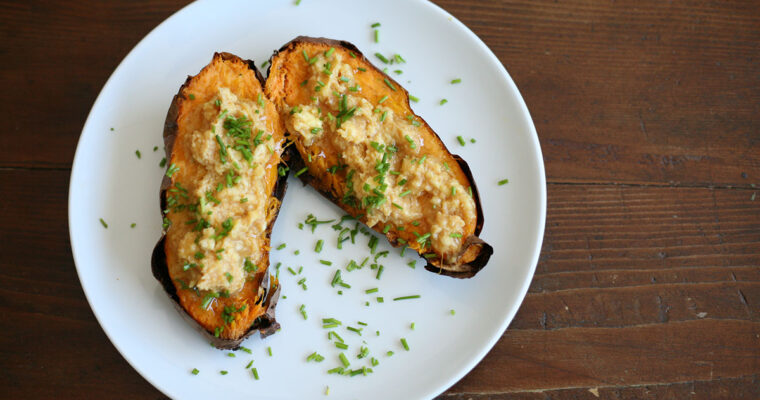 Baked sweet potato with miso butter