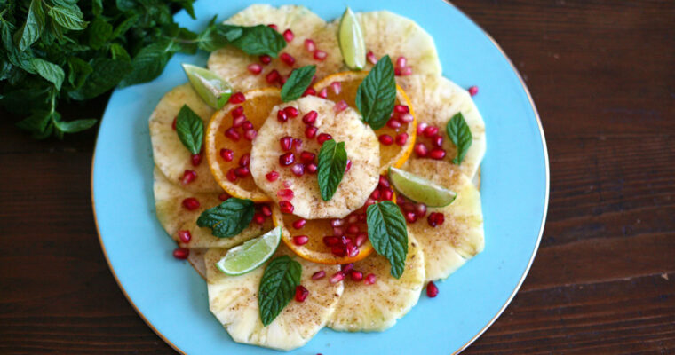 Pineapple and lime carpaccio with pomegranate
