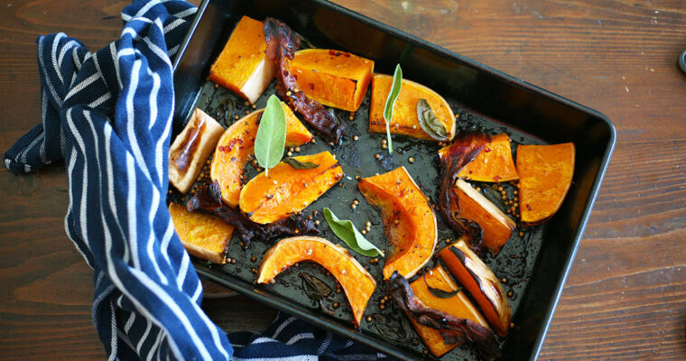 Roasted butternut squash with coriander seeds and bacon