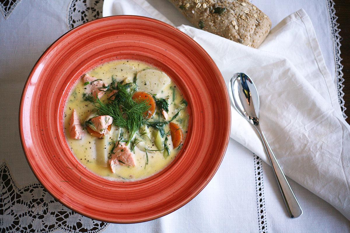 Finnish salmon and potato soup