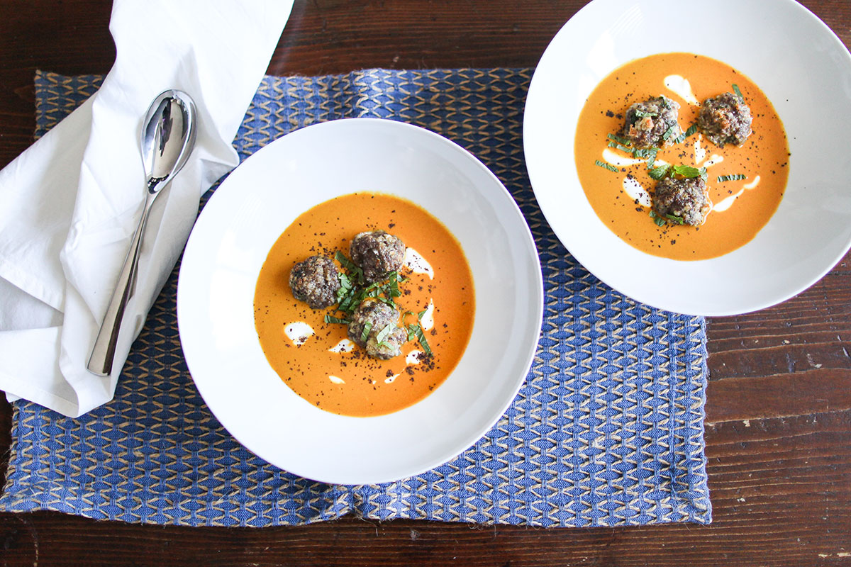 Turmeric and tomato soup with lamb meatballs