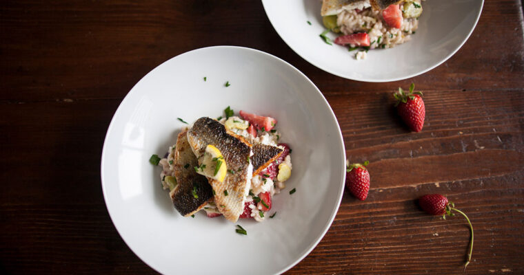 Sea bass, broad bean and strawberry risotto