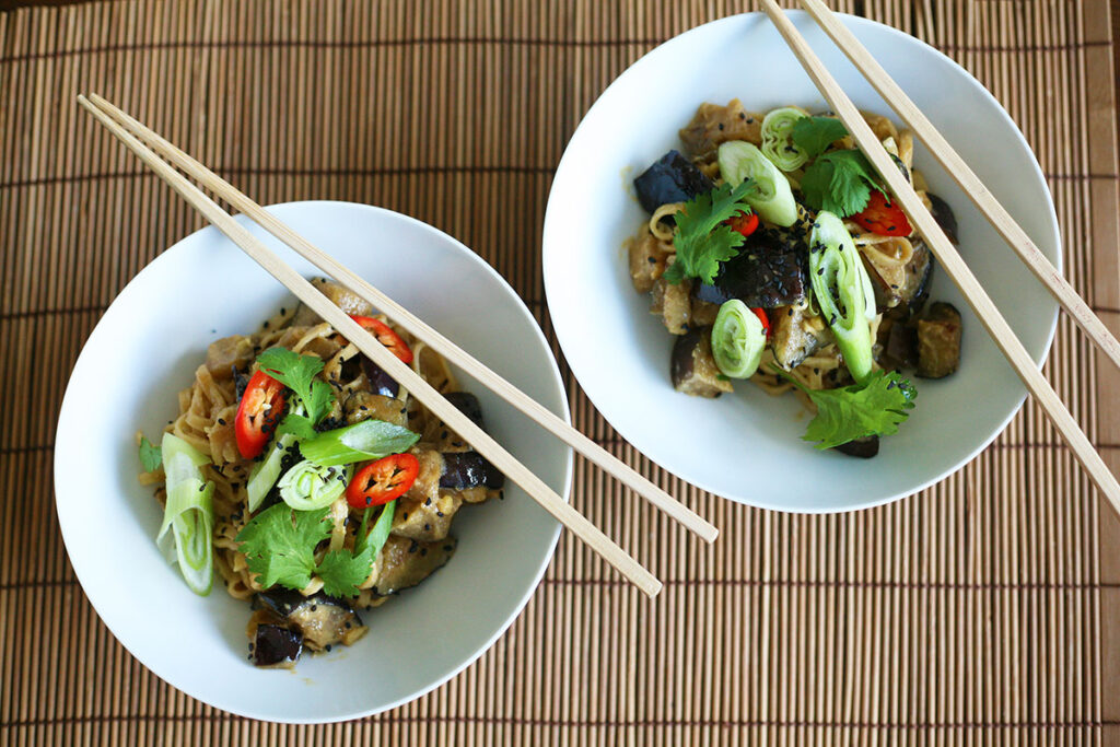 Egg noodles and miso aubergines