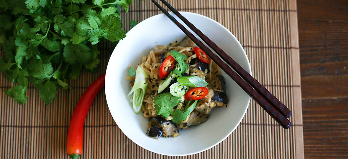 Egg noodles with miso aubergines