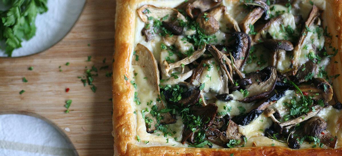 Mushroom and Gruyere tart