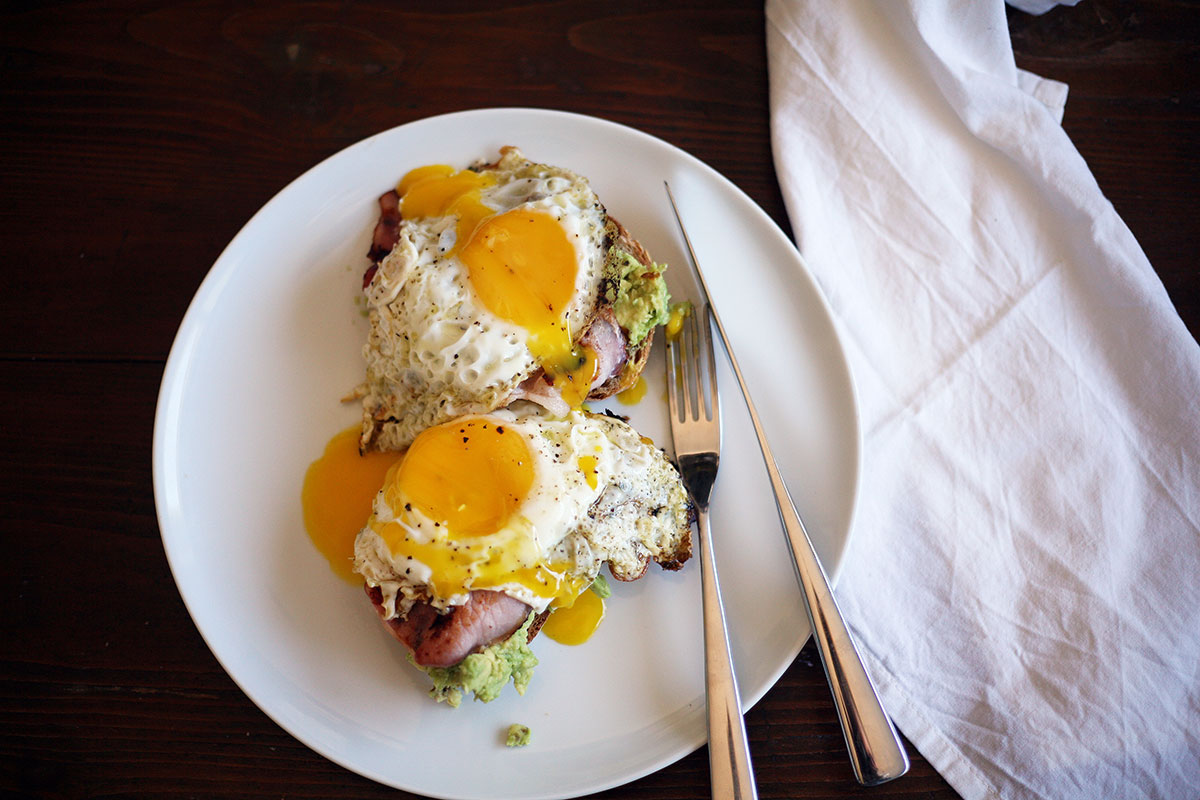 Egg and bacon on avocado toast