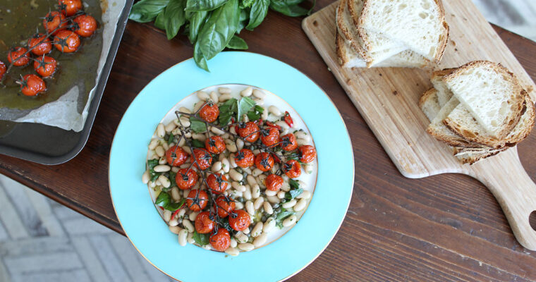 Cannellini beans with capers, mint and roasted cherry tomatoes
