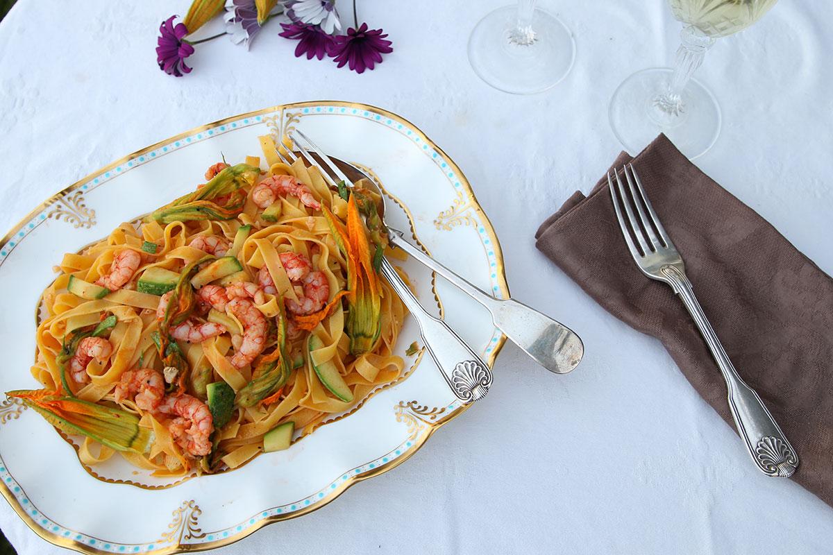 Tagliatelle with Mediterranean prawns and zucchini flowers